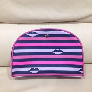 Kate Spade Stripe Lips Pink Travel Makeup Bag